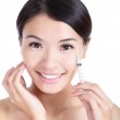 Cosmetic botox injection in woman face — Stock Photo