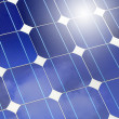 Solar panel closeup with sky and sun reflection — Stock Photo