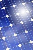 Solar panel closeup with sky and sun reflection — Stock Photo