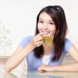 Beauty woman relax drink tea with home background — Stock Photo