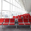 Stock Photo: Row of red chair at airport in Hongkong