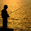 Fisher in golden sunshine — Stock Photo
