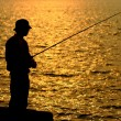 Stock Photo: Fisher in golden sunshine