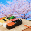 Tasty japan sushi with pink cherry blossoms — Stock Photo