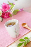 Happiness tea time — Stock Photo