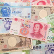 Background of asian currency — Stock Photo