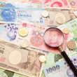Asian currency, magnifying glass and Background of asian currency — Stock Photo
