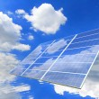 Stock Photo: Blue sky and white cloud reflection on Solar Panel