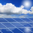 Solar Panel with reflection of blue sky ,white cloud and sun — Stock Photo #8607451