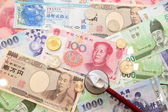 Asian currency, stethoscope and Background of asian currency — Stockfoto