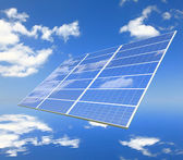 Solar Panel with reflection of blue sky and white cloud — Stock Photo