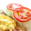 Delicious breakfast include egg, tomato , toast — Stock Photo