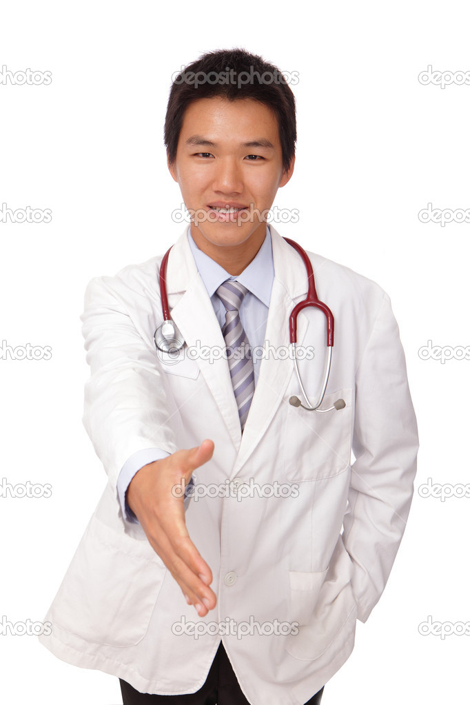 Smiling doctor giving hand for handshaking  Stock Photo #8766044