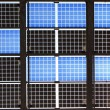 Close up of solar panel with sunshine — Stock Photo