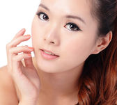 Beauty skin care woman smile and touching her face — Stock Photo