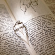 Wedding diamond rings on a bible — ストック写真