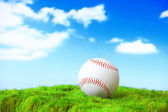 Base ball in green grass field with sky — Stock Photo