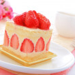 Sweet cake with strawberry at tea time — Stock Photo #9165675