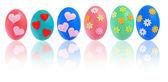 Coloridos huevos de pascua con la reflexión — Foto de Stock