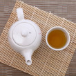 Stock Photo: Healthful green teand teapot