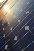Solar cell Panel reflection sunlight — Stock Photo