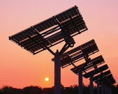 Solar panel silhouette with very beautiful sunset — Stock Photo