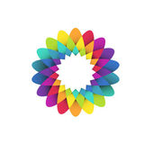 Rainbow flower logo — Vector de stock
