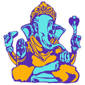 Blue Ganesha in orange clothes — Stock Photo