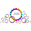 Abstract geometric rainbow circles background - Stock Vector