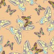 Seamless pastel butterfly pattern wallpaper — Stock Vector