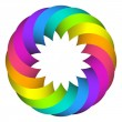 Stock Vector: Rainbow circle flower logo design