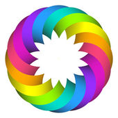 Rainbow circle flower logo design — Stock Vector