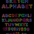 Vector sketch alphabet — Stock Vector #8867827