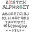 Vector sketch alphabet — Stock Vector #8867940