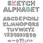 Vector sketch alphabet — Stock Vector