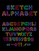 Vector sketch alphabet — Stock Vector