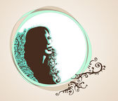 Woman's portrait with place for text. — Stock Vector