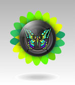 Lens with butterfly. vector illustration — Vector de stock