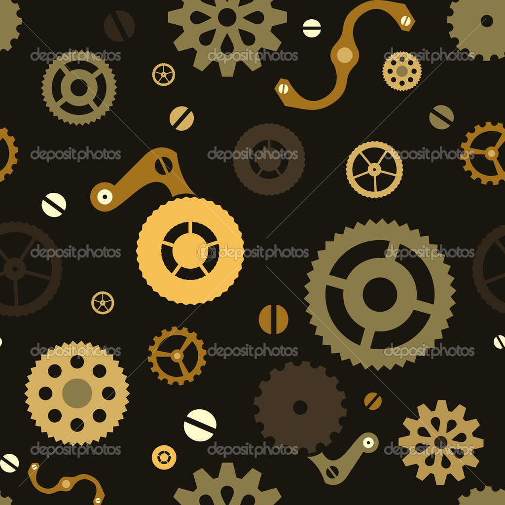 Steampunk seamless mechanical background with gears — Stock Vector #9223944