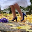 Royalty-Free Stock Photo: Stock Photo: bride is dancing on the yellow leafs wearing her blue heels