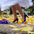 Stock Photo: Stock Photo: bride is dancing on yellow leafs wearing her blue heels