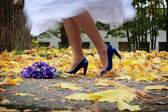 Stock Photo: bride is dancing on the yellow leafs wearing her blue heels — Stock Photo