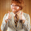 happy nerdy 60s game show host giving 2 thumbs up — Stock Photo