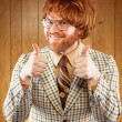 Happy Nerdy 60s Game Show Host Giving 2 Thumbs Up — Foto de Stock