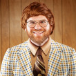 Portrait of a Nerdy Game Show host Retro Clothing — Stock Photo #8963634