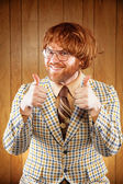 Happy Nerdy 60s Game Show Host Giving 2 Thumbs Up — Stock fotografie