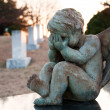 Baby Angel Crying in Graveyard — Stock Photo