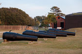 Multiple Historic War Cannons — Stock Photo