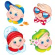 Vector de stock : Children in winter, spring, summer and autumn clothes