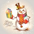 Christmas. Hand drawn Snowman with gift. Vector illustration. — Stok Vektör